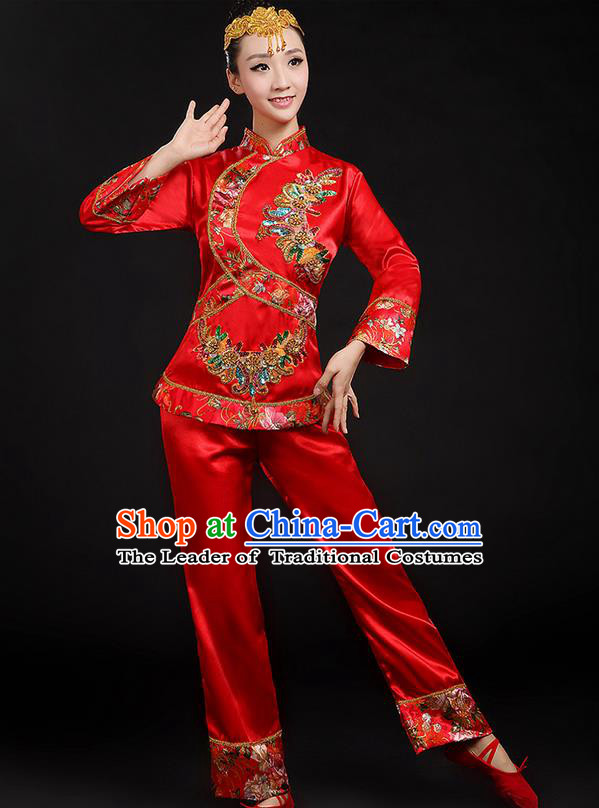 Traditional Chinese Yangge Fan Dancing Costume, Folk Dance Yangko Uniforms, Classic Umbrella Dance Elegant Dress Drum Dance Red Paillette Phoenix Clothing for Women