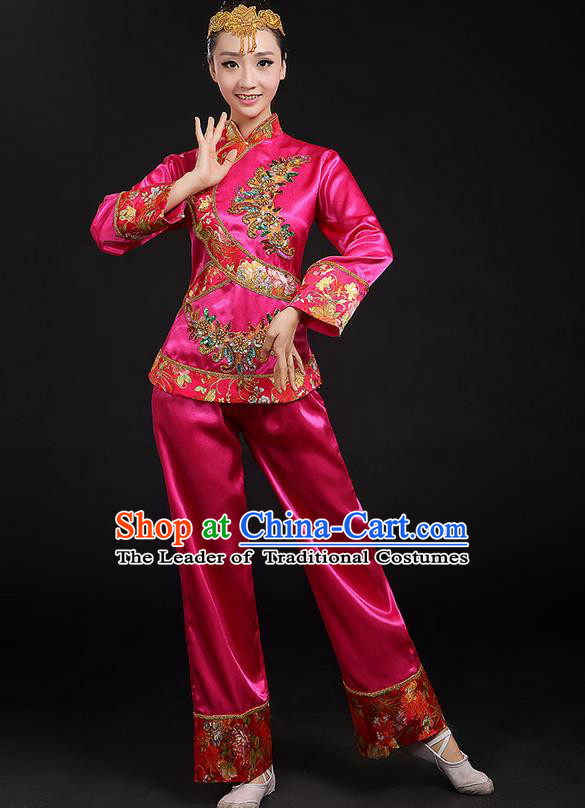 Traditional Chinese Yangge Fan Dancing Costume, Folk Dance Yangko Uniforms, Classic Umbrella Dance Elegant Dress Drum Dance Pink Paillette Phoenix Clothing for Women