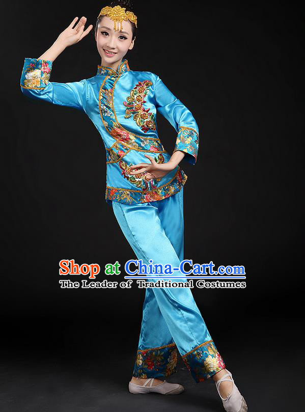 Traditional Chinese Yangge Fan Dancing Costume, Folk Dance Yangko Uniforms, Classic Umbrella Dance Elegant Dress Drum Dance Blue Paillette Phoenix Clothing for Women