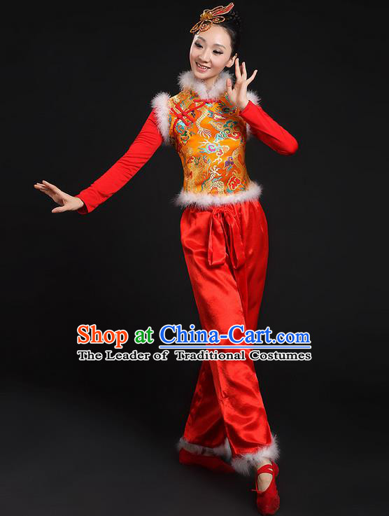 Traditional Chinese Yangge Fan Dancing Costume, Folk Dance Yangko Uniforms, Classic Umbrella Dance Elegant Dress Drum Dance Mandarin Collar Phoenix Clothing for Women