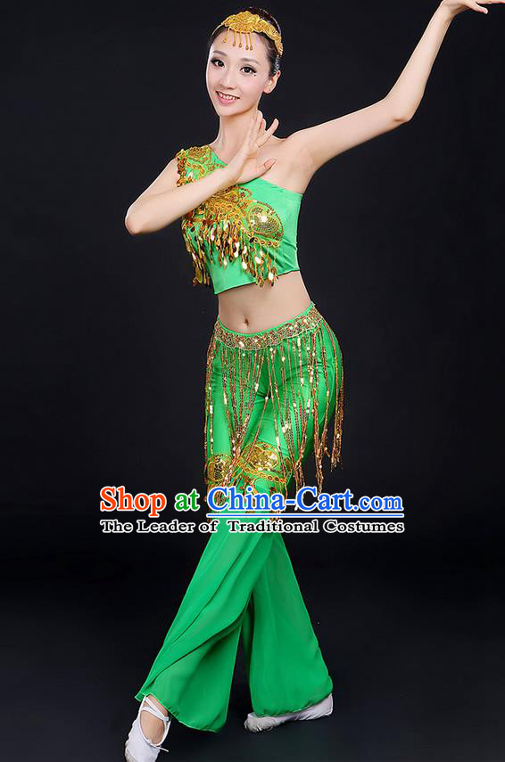 Traditional Chinese Dai Nationality Peacock Dancing Costume, Folk Dance Ethnic Paillette Dress Uniform, Chinese Minority Nationality Dancing Green Clothing for Women