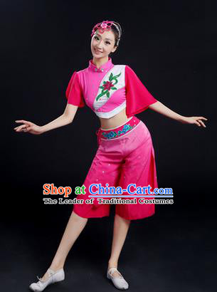 Traditional Chinese Yangge Fan Dancing Costume, Folk Dance Yangko Uniforms, Classic Dance Elegant Dress Drum Dance Pink Clothing for Women