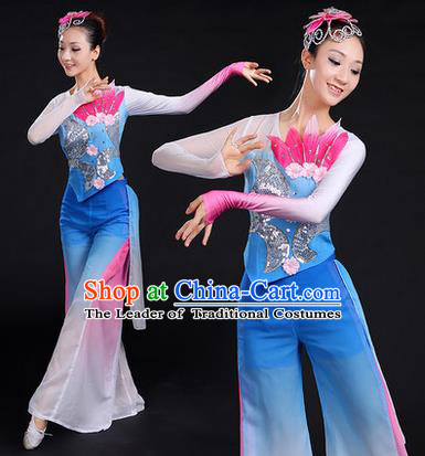 Traditional Chinese Yangge Fan Dancing Costume, Folk Dance Yangko Uniforms, Classic Dance Elegant Paillette Dress Drum Dance Blue Clothing for Women