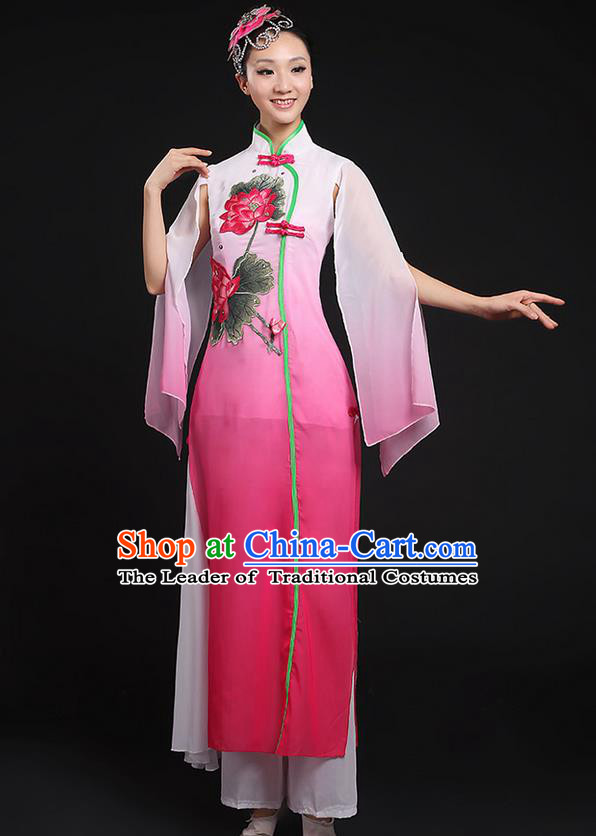 Traditional Chinese Yangge Fan Dancing Costume, Folk Dance Yangko Uniforms, Classic Lotus Dance Elegant Dress Drum Dance Pink Clothing for Women