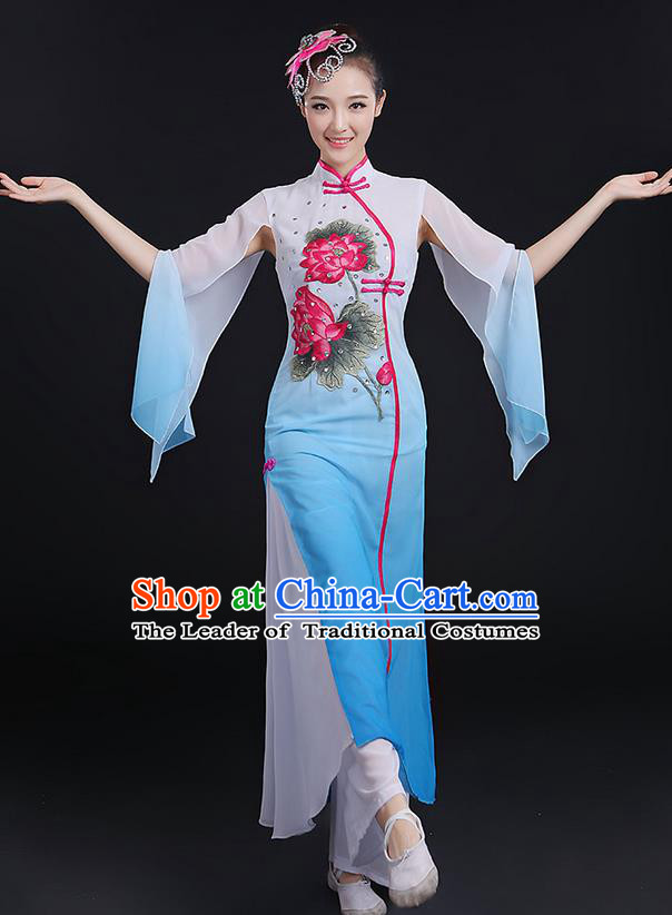 Traditional Chinese Yangge Fan Dancing Costume, Folk Dance Yangko Uniforms, Classic Lotus Dance Elegant Dress Drum Dance Blue Clothing for Women