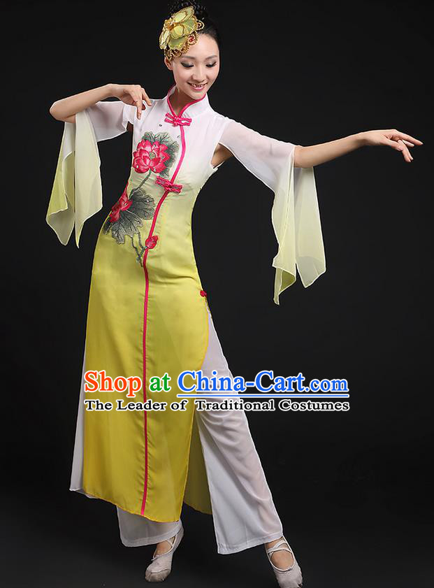 Traditional Chinese Yangge Fan Dancing Costume, Folk Dance Yangko Uniforms, Classic Lotus Dance Elegant Dress Drum Dance Yellow Clothing for Women
