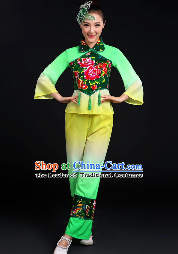 Traditional Chinese Yangge Fan Dancing Costume, Folk Dance Yangko Uniforms, Classic Dance Elegant Dress Drum Dance Peony Green Clothing for Women