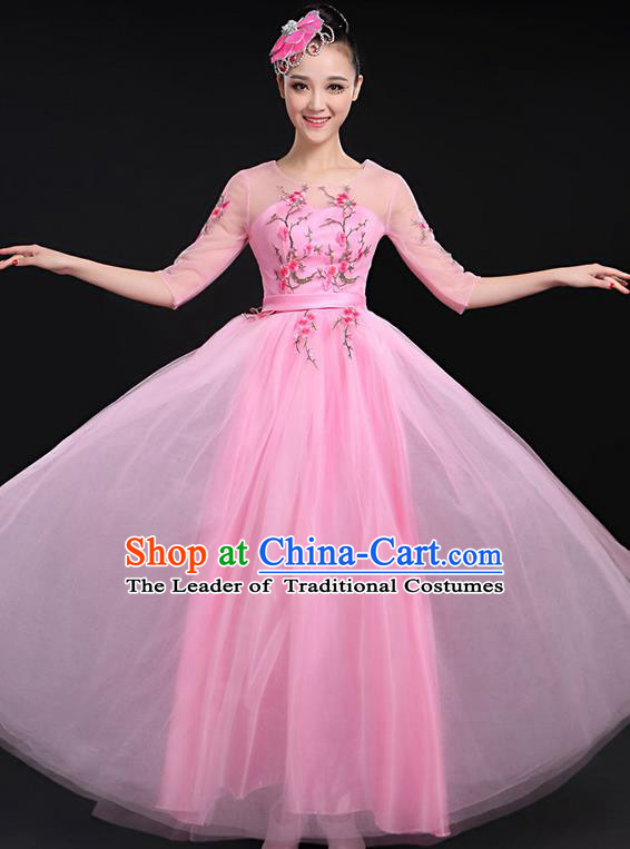 Traditional Chinese Modern Dancing Compere Costume, Women Opening Classic Chorus Singing Group Dance Bubble Uniforms, Modern Dance Embroidered Plum Blossom Long Pink Dress for Women