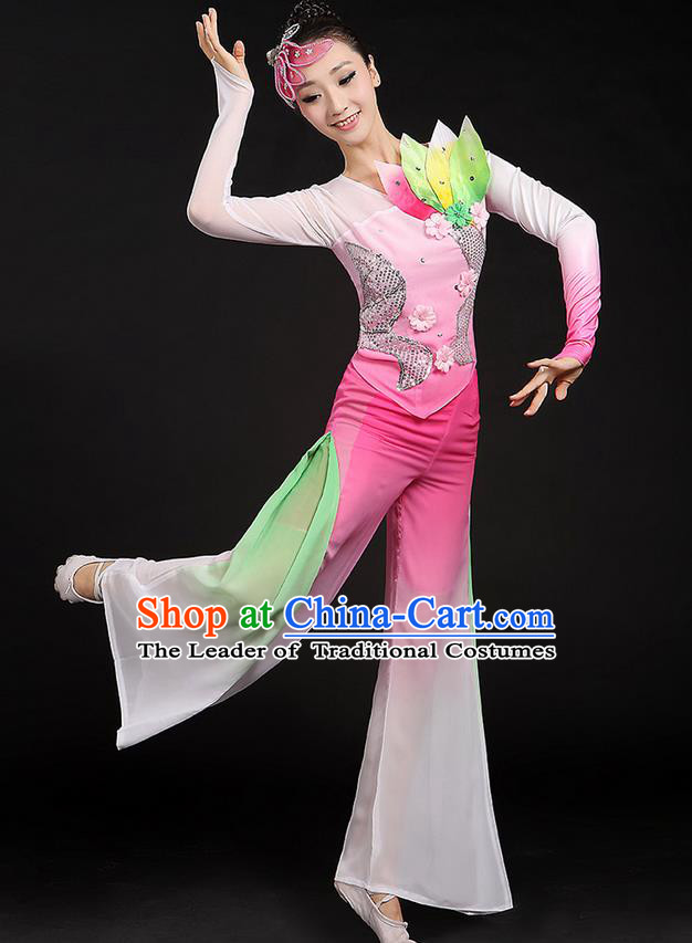 Traditional Chinese Yangge Fan Dancing Costume, Folk Dance Yangko Uniforms, Classic Dance Elegant Paillette Dress Drum Dance Pink Clothing for Women