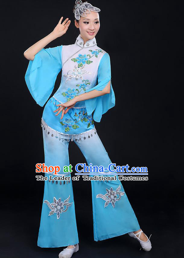 Traditional Chinese Yangge Fan Dancing Costume, Folk Dance Yangko Mandarin Sleeve Paillette Uniforms, Classic Dance Elegant Dress Drum Dance Peony Blue Clothing for Women