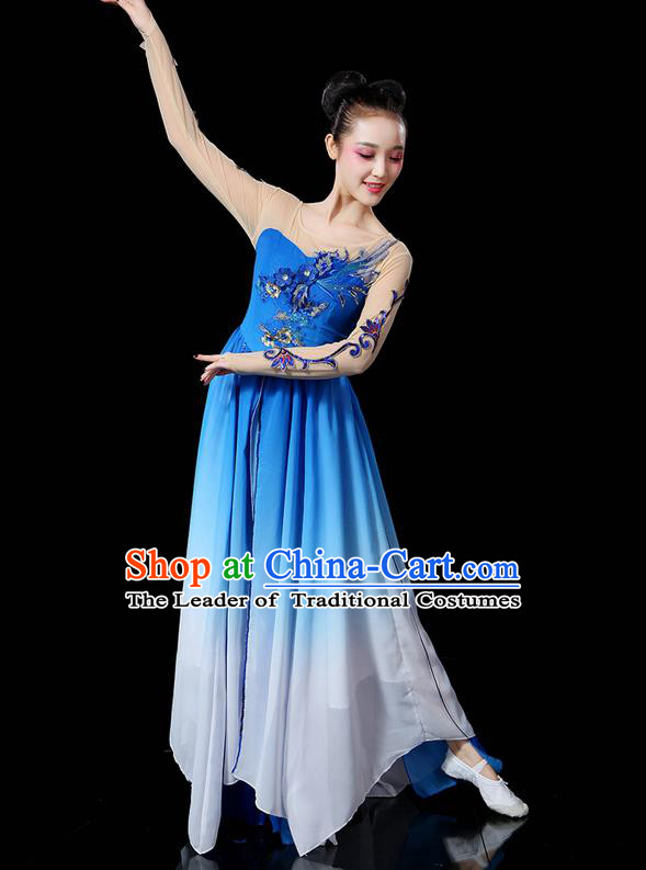 Traditional Chinese Yangge Fan Dancing Costume, Folk Dance Yangko Uniforms, Classic Umbrella Dance Elegant Dress Drum Dance Sequins Phoenix Blue Clothing for Women