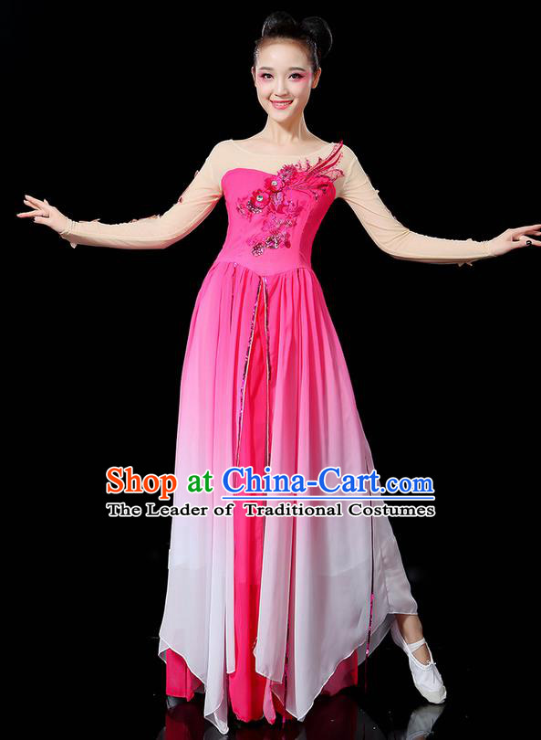 Traditional Chinese Yangge Fan Dancing Costume, Folk Dance Yangko Uniforms, Classic Umbrella Dance Elegant Dress Drum Dance Sequins Phoenix Rose Clothing for Women