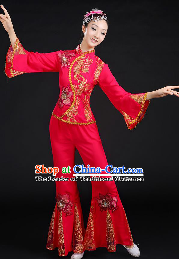 Traditional Chinese Yangge Fan Dancing Costume, Folk Dance Yangko Mandarin Sleeve Paillette Uniforms, Classic Dance Elegant Dress Drum Dance Paillette Rose Clothing for Women