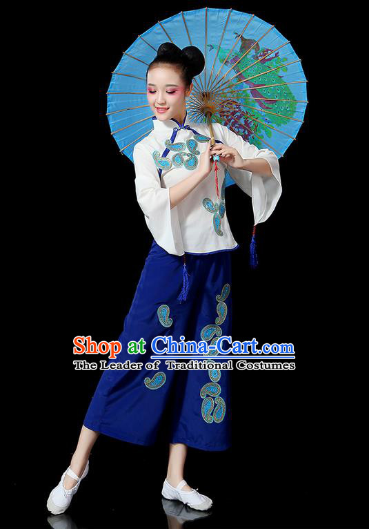 Traditional Chinese Yangge Fan Dancing Costume, Folk Dance Yangko Mandarin Sleeve Uniforms, Classic Dance Elegant Dress Drum Dance Blue Clothing for Women