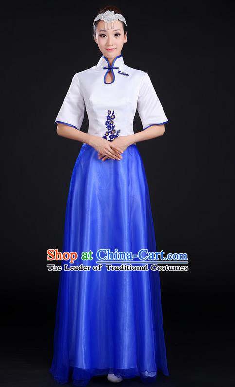Traditional Chinese Modern Dancing Compere Costume, Women Opening Classic Chorus Singing Group Dance Uniforms, Modern Dance Classic Dance Cheongsam Dress for Women