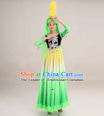 Traditional Chinese Uyghur nationality Dancing Costume, Folk Dance Ethnic Costume, Chinese Minority Nationality Uigurian Dance Big Swing Green Dress for Women