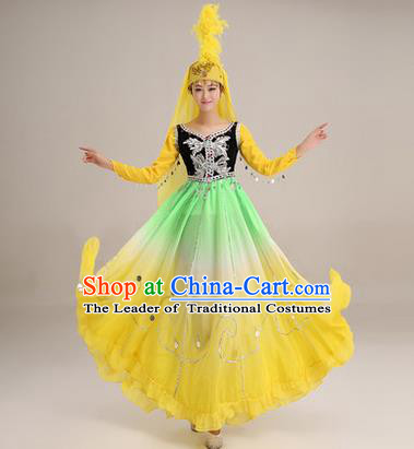 Traditional Chinese Uyghur nationality Dancing Costume, Folk Dance Ethnic Costume, Chinese Minority Nationality Uigurian Dance Big Swing Yellow Dress for Women