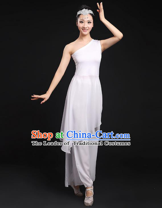 Traditional Chinese Yangge Fan Dancing Costume, Folk Dance Yangko Uniforms, Classic Umbrella Dance Elegant Dress Drum Dance White Clothing for Women