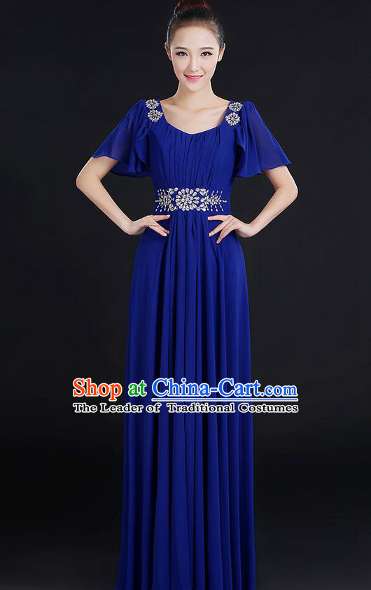 Traditional Chinese Modern Dancing Compere Costume, Women Opening Classic Chorus Singing Group Dance Uniforms, Modern Dance Classic Dance Big Swing Crystal Royalblue Dress for Women
