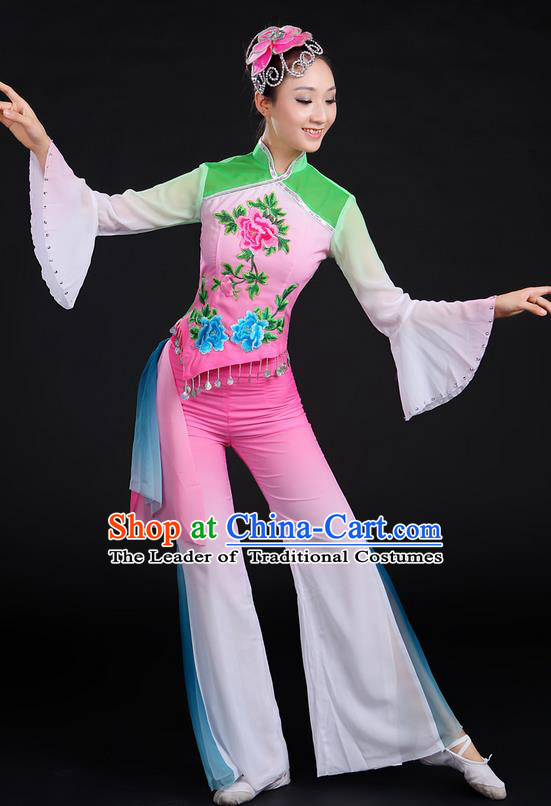 Traditional Chinese Yangge Fan Dancing Costume, Folk Dance Yangko Mandarin Sleeve Uniforms, Classic Umbrella Dance Elegant Dress Drum Dance Embroidered Peony Clothing for Women