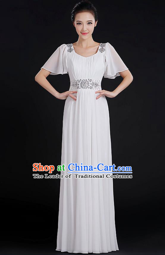 Traditional Chinese Modern Dancing Compere Costume, Women Opening Classic Chorus Singing Group Dance Uniforms, Modern Dance Classic Dance Big Swing Crystal White Dress for Women