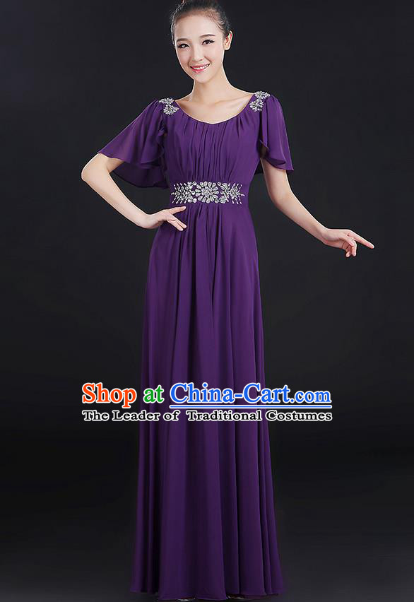 Traditional Chinese Modern Dancing Compere Costume, Women Opening Classic Chorus Singing Group Dance Uniforms, Modern Dance Classic Dance Big Swing Crystal Purple Dress for Women