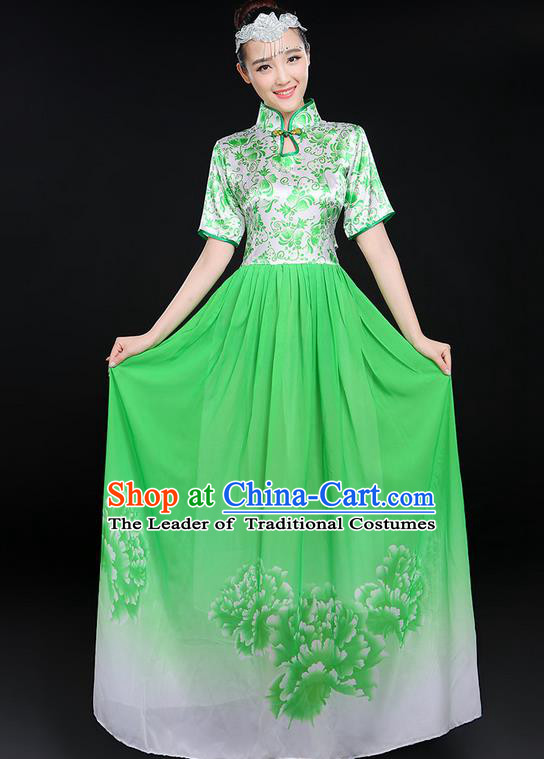 Traditional Chinese Modern Dancing Compere Costume, Women Opening Classic Chorus Singing Group Dance Uniforms, Modern Dance Classic Dance Big Swing Green Cheongsam Dress for Women