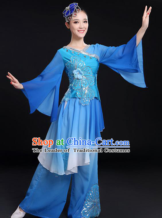Traditional Chinese Yangge Fan Dancing Costume, Folk Dance Yangko Mandarin Sleeve Uniforms, Classic Umbrella Dance Elegant Dress Drum Dance Paillette Blue Clothing for Women