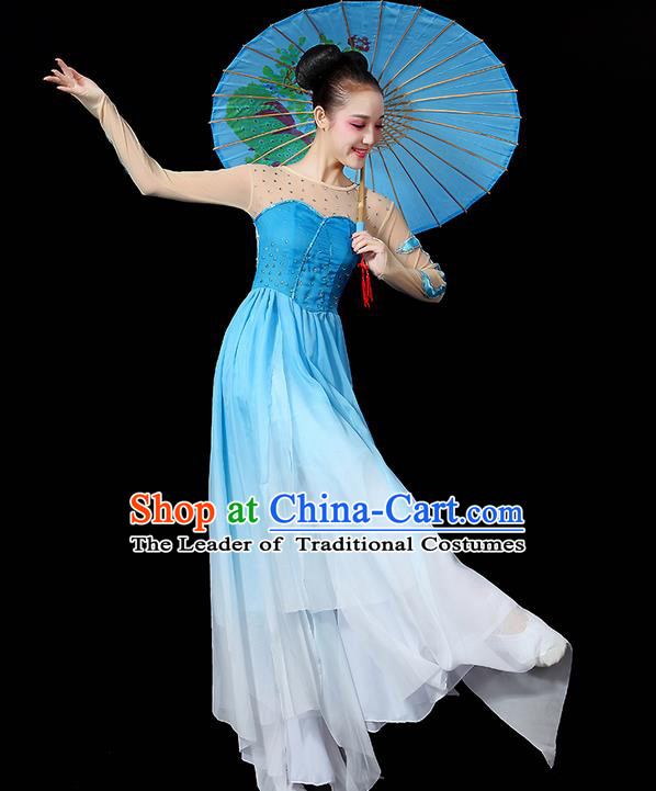 Traditional Chinese Yangge Fan Dancing Costume, Folk Dance Yangko Uniforms, Classic Umbrella Dance Elegant Dress Drum Dance Paillette Blue Clothing for Women