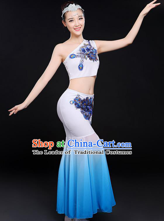 Traditional Chinese Dai Nationality Peacock Dancing Costume, Folk Dance Ethnic Paillette Flowers Fishtail Dress Uniform, Chinese Minority Nationality Dancing White Clothing for Women