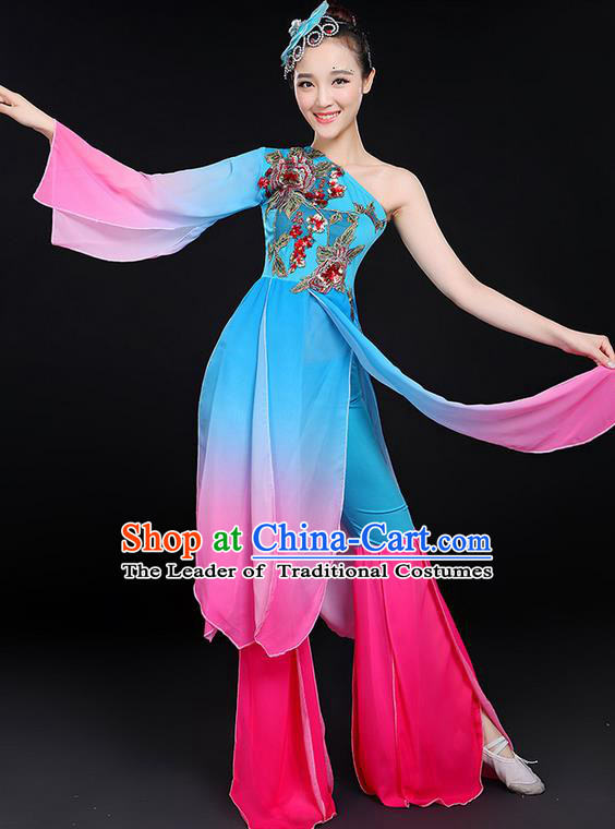 Traditional Chinese Yangge Fan Dancing Costume, Folk Dance Yangko Mandarin Sleeve Uniforms, Classic Lotus Dance Elegant Dress Drum Dance Clothing for Women