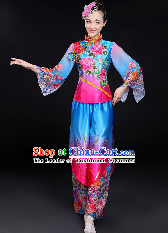 Traditional Chinese Yangge Fan Dancing Costume, Folk Dance Yangko Mandarin Sleeve Peony Flowers Uniforms, Classic Dance Elegant Dress Drum Dance Flowers Clothing for Women