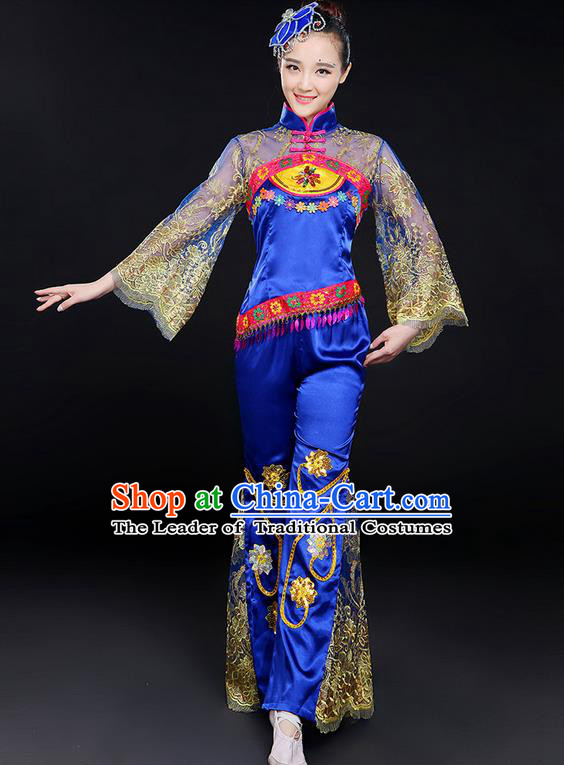 Traditional Chinese Yangge Fan Dancing Costume, Folk Dance Yangko Mandarin Sleeve Embroidered Uniforms, Classic Dance Elegant Dress Drum Dance Flowers Clothing for Women