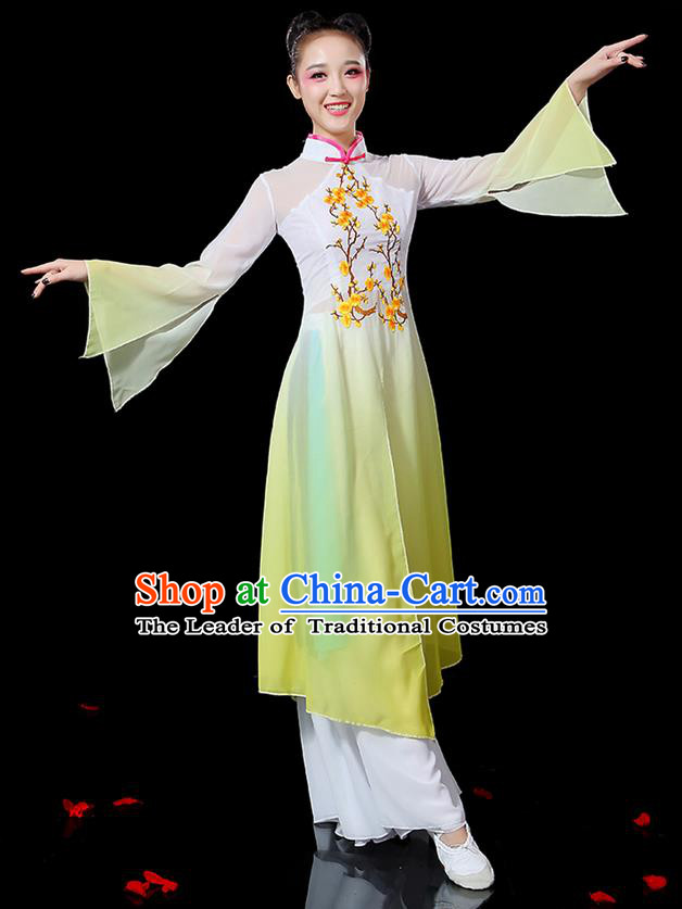 Traditional Chinese Yangge Fan Dancing Costume, Folk Dance Yangko Mandarin Sleeve Embroidered Plum Blossom Uniforms, Classic Umbrella Dance Elegant Dress Drum Dance Yellow Clothing for Women