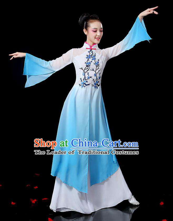 Traditional Chinese Yangge Fan Dancing Costume, Folk Dance Yangko Mandarin Sleeve Embroidered Plum Blossom Uniforms, Classic Umbrella Dance Elegant Dress Drum Dance Blue Clothing for Women