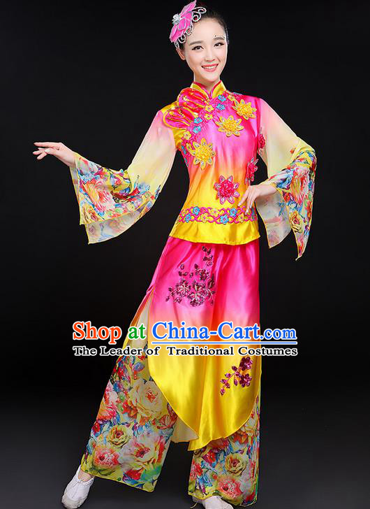 Traditional Chinese Yangge Fan Dancing Costume, Folk Dance Yangko Mandarin Sleeve Paillette Uniforms, Classic Jasmine Flower Dance Elegant Dress Drum Dance Clothing for Women