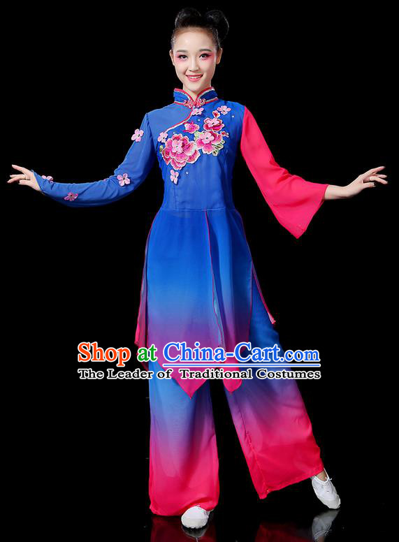 Traditional Chinese Yangge Fan Dancing Costume, Folk Dance Yangko Mandarin Sleeve Uniforms, Classic Dance Elegant Embroidered Peony Dress Drum Dance Clothing for Women
