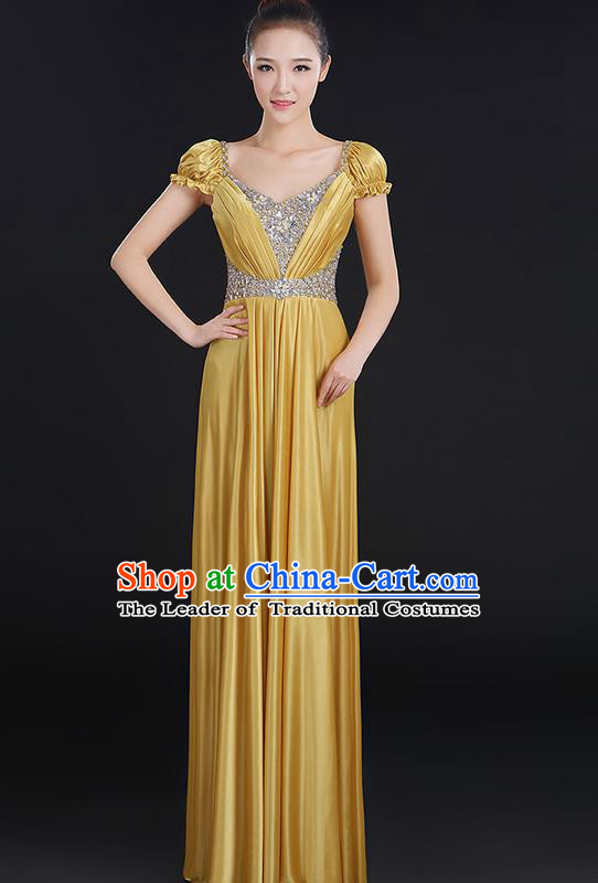 Traditional Chinese Modern Dancing Compere Costume, Women Opening Classic Chorus Singing Group Dance Crystal Dress Uniforms, Modern Dance Classic Dance Big Swing Gold Dress for Women