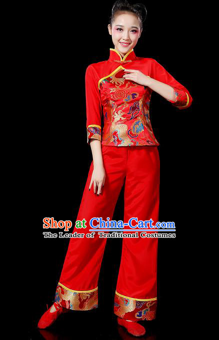 Traditional Chinese Yangge Fan Dancing Costume, Folk Dance Yangko Mandarin Sleeve Uniforms, Classic Dance Elegant Stand Collar Dress Drum Dance Red Clothing for Women