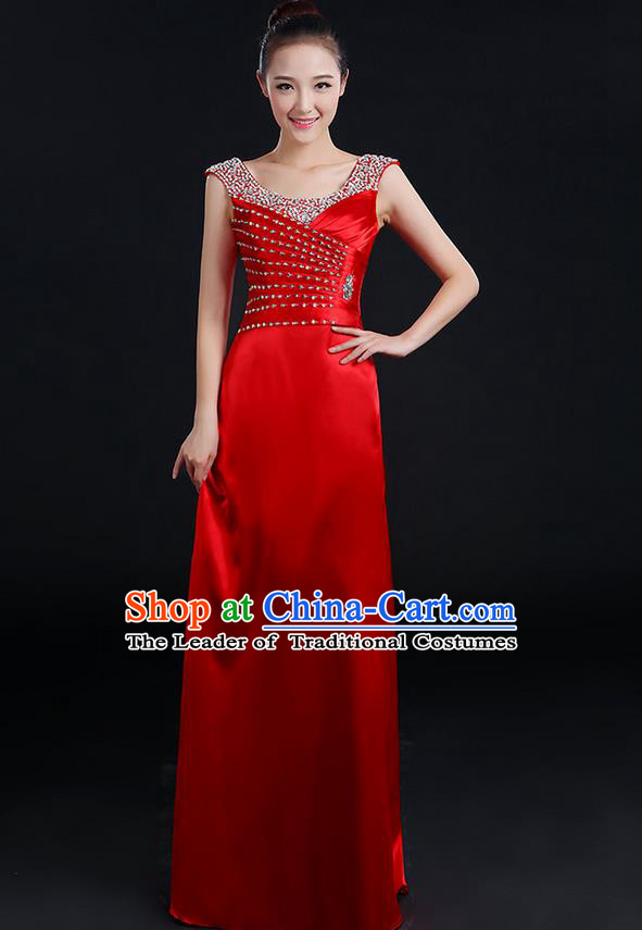 Traditional Chinese Modern Dancing Compere Costume, Women Opening Classic Chorus Singing Group Dance Crystal Dress Uniforms, Modern Dance Classic Dance Red Dress for Women