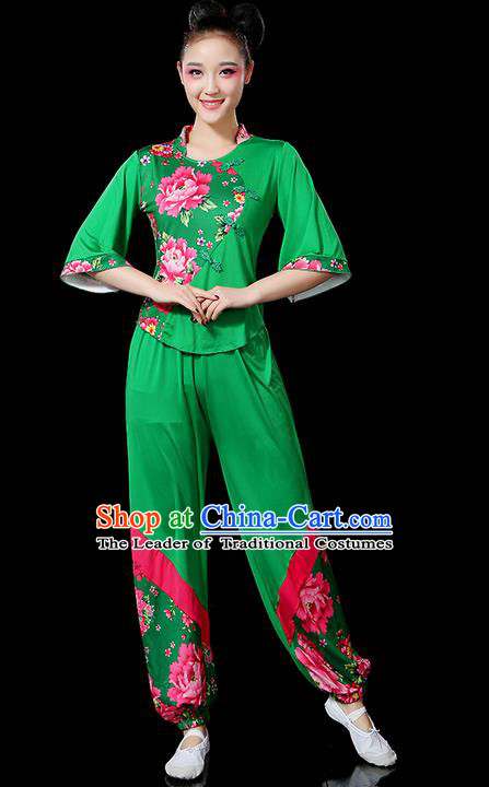 Traditional Chinese Yangge Fan Dancing Costume, Folk Dance Yangko Peony Uniforms, Classic Umbrella Dance Elegant Dress Drum Dance Green Clothing for Women