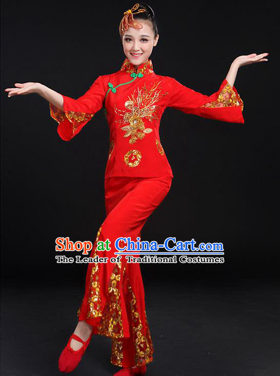 Traditional Chinese Yangge Fan Dancing Costume, Folk Dance Yangko Paillette Uniforms, Classic Umbrella Dance Elegant Red Dress Drum Dance Clothing for Women