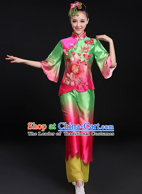 Traditional Chinese Yangge Fan Dancing Costume, Folk Dance Yangko Uniforms, Classic Umbrella Dance Elegant Mandarin Sleeve Dress Drum Dance Green Clothing for Women