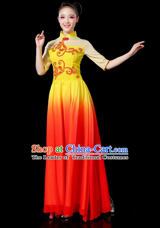 Traditional Chinese Yangge Fan Dancing Costume, Folk Dance Yangko Uniforms, Classic Umbrella Dance Elegant Mandarin Collar Dress Drum Dance Clothing for Women