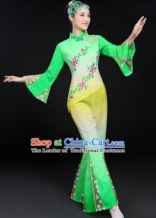 Traditional Chinese Yangge Fan Dancing Costume, Folk Dance Yangko Mandarin Sleeve Uniforms, Classic Umbrella Dance Elegant Lace Dress Drum Dance Clothing for Women