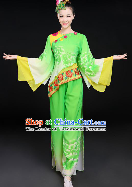 Traditional Chinese Yangge Fan Dancing Costume, Folk Dance Yangko Mandarin Sleeve Peony Uniforms, Classic Umbrella Dance Elegant Dress Drum Dance Clothing for Women