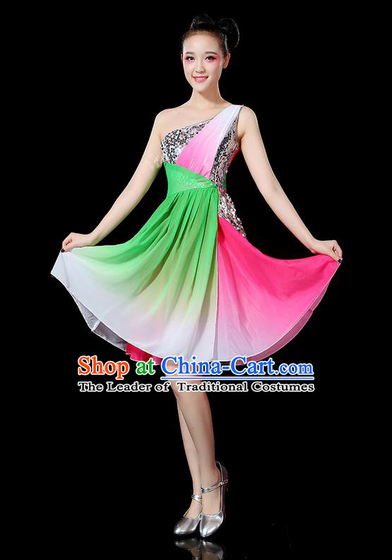 Traditional Chinese Yangge Fan Dancing Costume, Folk Dance Yangko Paillette Uniforms, Classic Umbrella Dance Elegant Short Dress Drum Dance Clothing for Women
