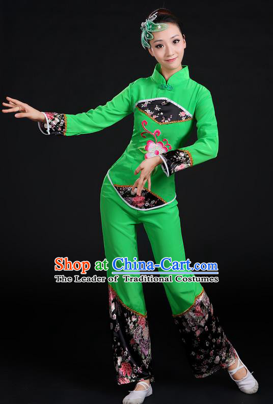 Traditional Chinese Yangge Fan Dancing Costume, Folk Dance Yangko Uniforms, Classic Umbrella Dance Elegant Dress Drum Dance Green Clothing for Women