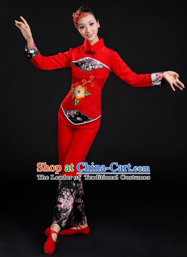 Traditional Chinese Yangge Fan Dancing Costume, Folk Dance Yangko Uniforms, Classic Umbrella Dance Elegant Dress Drum Dance Red Clothing for Women