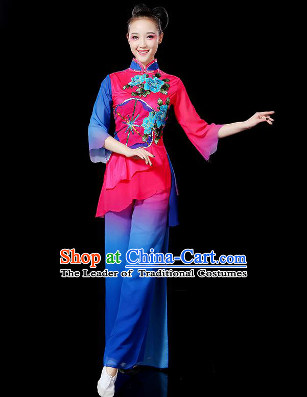 Traditional Chinese Yangge Fan Dancing Costume, Folk Dance Yangko Flowers Uniforms, Classic Umbrella Dance Elegant Dress Drum Dance Clothing for Women